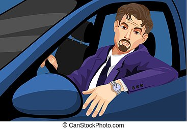 vezetés, autó, üzletember