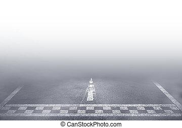 vezetés, autó fut, út megtölt, köd, befejez