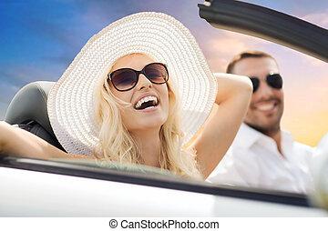 vezetés, autó, párosít, ég, átváltható, felett, boldog