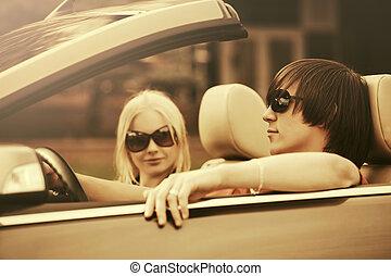 vezetés, autó, párosít, fiatal, átváltható, boldog