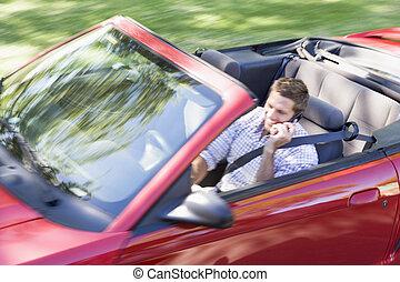 vezetés, autó telefon, sejtekből álló, használ, átváltható, mosolyog bábu
