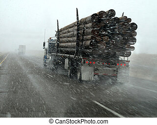 vezetés, hó, vonás, erdő, csereüzlet, megrohamoz