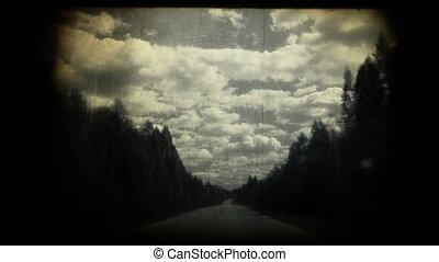 vezetés, képben látható, egy, ország, road.