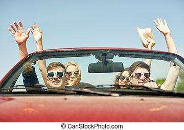 vezetés, kabrió, autó, ország, barátok, boldog
