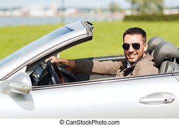 vezetés, kabrió, autó, szabadban, boldog, ember