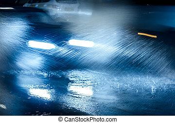 vezetés, permetezés, út, elárasztott, rainwater, mindenfelé, autók