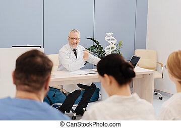 vezető, pozitív, orvosi, öregedő, főiskola, előadás, tanár