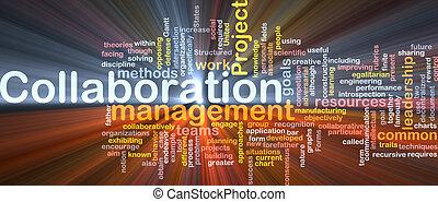vezetőség, együttműködés, fogalom, izzó, háttér