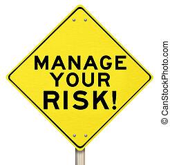 vezetőség, kockáztat, intéz, sárga cégtábla, figyelmeztetés,...