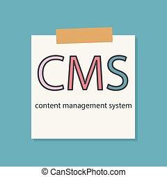vezetőség, rendszer, jegyzetfüzet, befogadóképesség, írott, dolgozat, cms