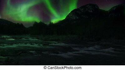 VFX Shot - Aurora Borealis And Supermoon Above A River,...