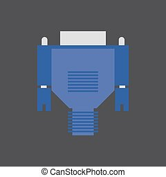 VGA cable illustration - VGA cable on the grey background....