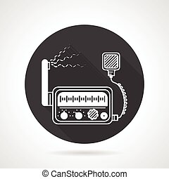 VHF radio black round vector icon - Black round flat design...