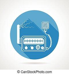 VHF radio station round vector icon - Flat blue round vector...
