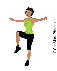 vhodnost, ženy, cvičit