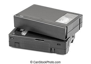 VHS-C video cassettes on white background