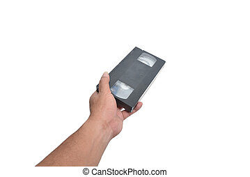VHS cassette in hand