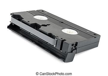 VHS cassette on white background