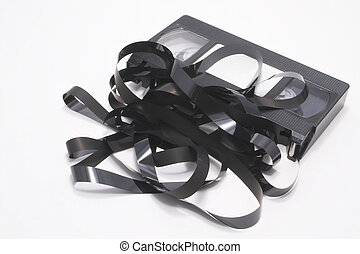 A VHS video cassette tape - Outdated technology concept.