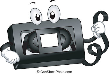 VHS Mascot - Mascot Illustration of a VHS Tape Holding a...