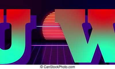 VHS retro animation with the appearing neon rectangle and the text you win. Against the background of the glowing sun and the moving forward grid. Retro style. Video games from the 80s. Motion graphics.
