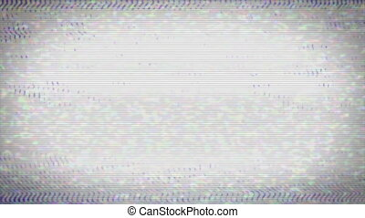 A flickering, analog TV signal with bad interference, static, and color bars. Contains two options for audio, change half-way through.