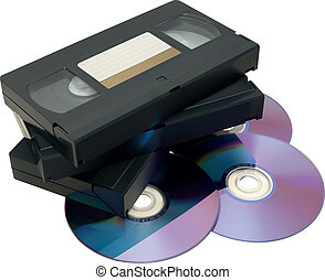 VHS tape and DVD - Illustration of VHS tape and DVD isolated...