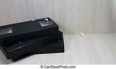 vhs, vidéo, popron, cassette, pile, bande