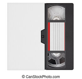 VHS video tape cassette and box isolated