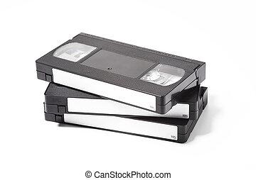 VHS VIDEO TAPE CASSETTE ON WHITE BACKGROUND