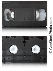 Outdated tape for recording video information. Isolated over white