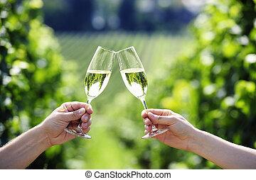 viña, brindar, champaña, dos, anteojos