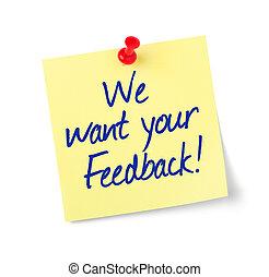 vi, feedback, tekst, notere avis, behøve, din