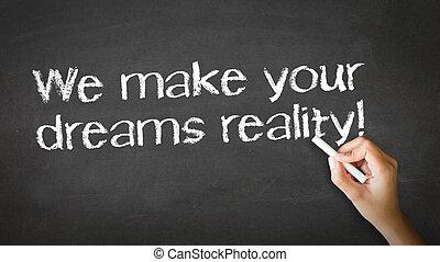 vi, forarbejde, drømme, virkelighed, kridt, illustration