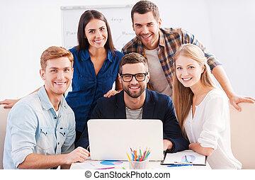 vi, gruppe, firma, arbejdere, sammen, muntre, team., gå med,...