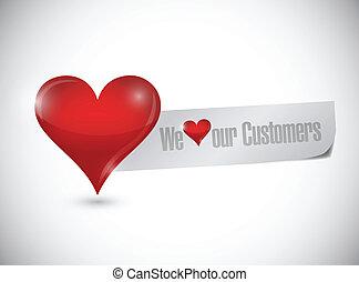 vi, kärlek, kunder, illustration, underteckna, vår