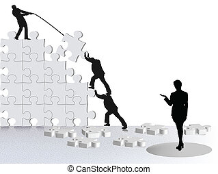 via, affari, successo, esposizione, squadra, puzzle,...