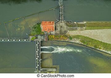 via, bavaria., eau, gestion, suivant, allemand, paysage rivière, munich, serrure