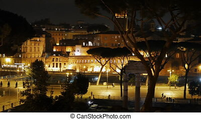 Via dei Fori Imperiali. Night. Rome, Italy. UltraHD (4K)