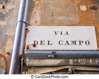 Via del Campo street sign in Genoa HDR