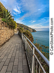 Cinque Terre - road of love. Liguria, Italy. One from most beautiful in Italy of for pedestrians paths for lovers