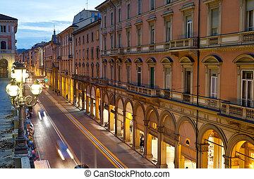 via dell Indipendenza in Bologna, Italy in autumn evening
