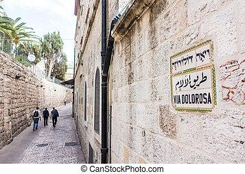 via, dolorosa, jerusalém, israel, oriente médio