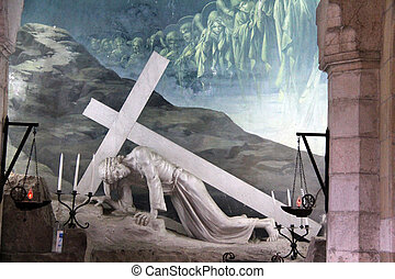 Via Dolorosa. The fourth  station stop Jesus Christ, who bore his cross to Golgotha .