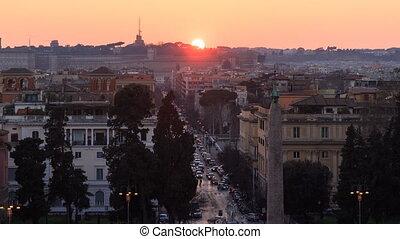 Via Ferdinando di Savoia at sunset. Time Lapse. Rome, Italy