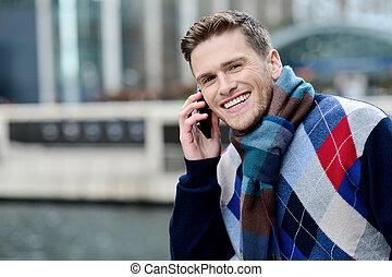 via, klesten, jonge, mobiele telefoon, smart, man