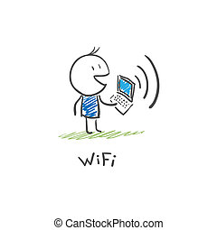 via, laptop, wi, collegare, internet, fi, uomo