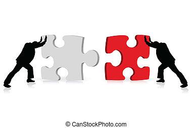via, negócio, sucesso, quebra-cabeça, ilustrado, conceito, ...