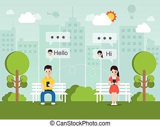 via, online, netwerk, kletsende, sociaal