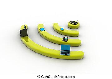 via, pc, l, telefono, internet, instradatore